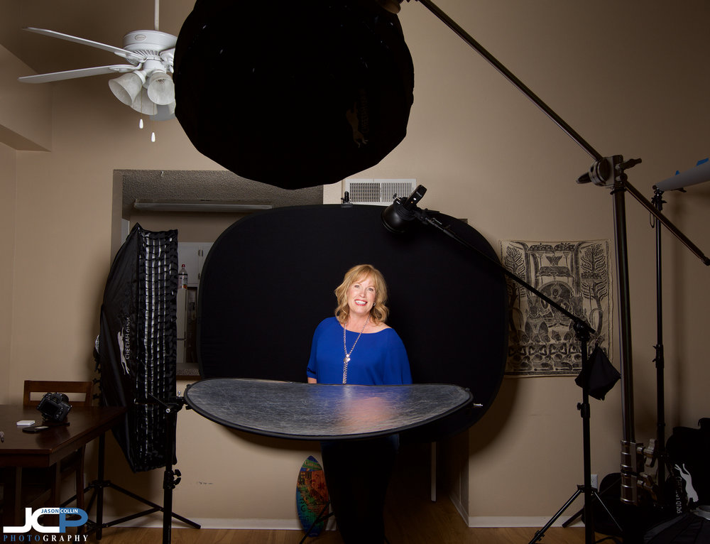Beauty dish setup with a black background at the JCP Home Studio for headshots in Albuquerque, New Mexico