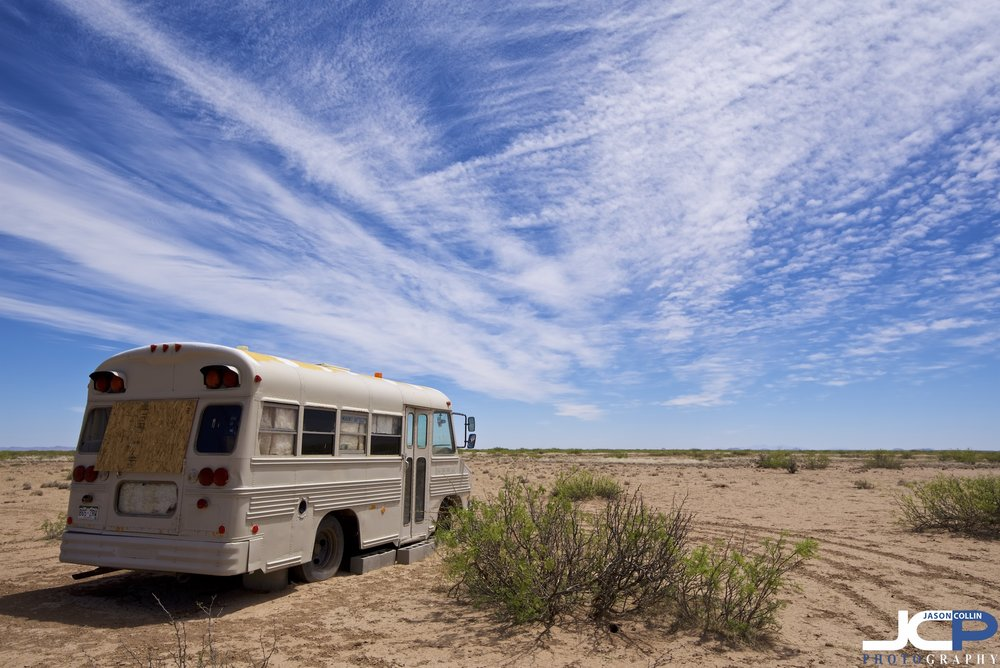 school bus RV desert home New Mexico photography