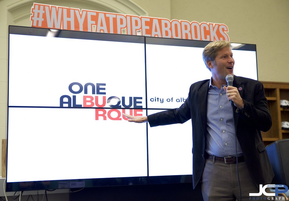 Albuquerque, New Mexico Mayor Tim Keller speaks at 1 Million Cups ABQ at Fat Pipe
