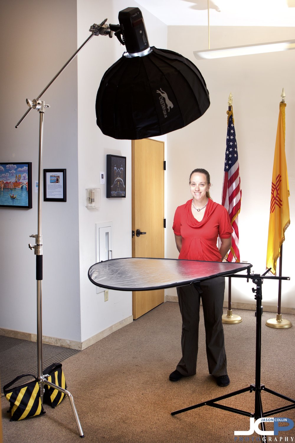 headshot bts with flags in background