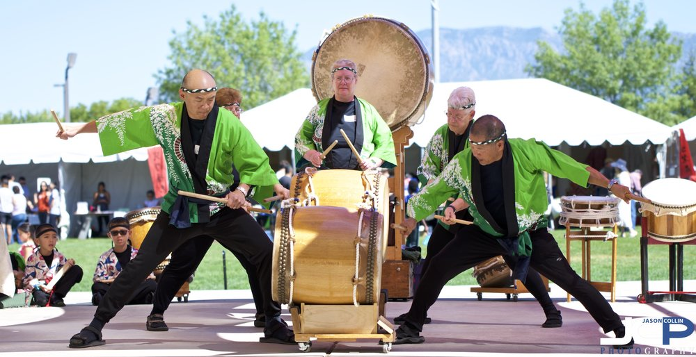 Taiko drumming at Aki Matsuri 2018 in Albuquerque, New Mexico