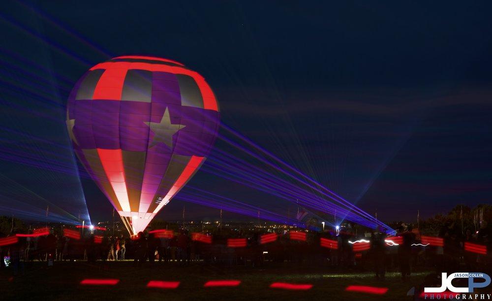 Long exposure laser light show at Ballon Fiesta 2018 in Albuquerque, New Mexico