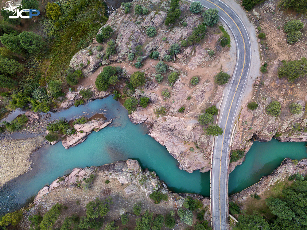 Five Favorite Category: DRONE — The Animas River bisects the Road in Colorado