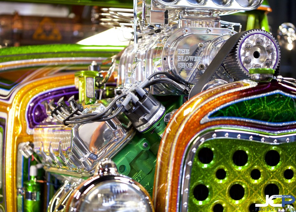 You will be hard pressed to find a more colorful engine! - SuperNationals Custom Car Show 2019 ABQ