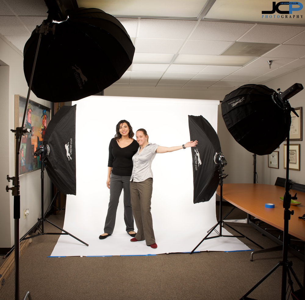 """The setup used to make professional head to toe headshots - 42"""" main light, 26"""" fill light, and two 12""""x55"""" strip boxes on the white paper background to make it truly seamless."""