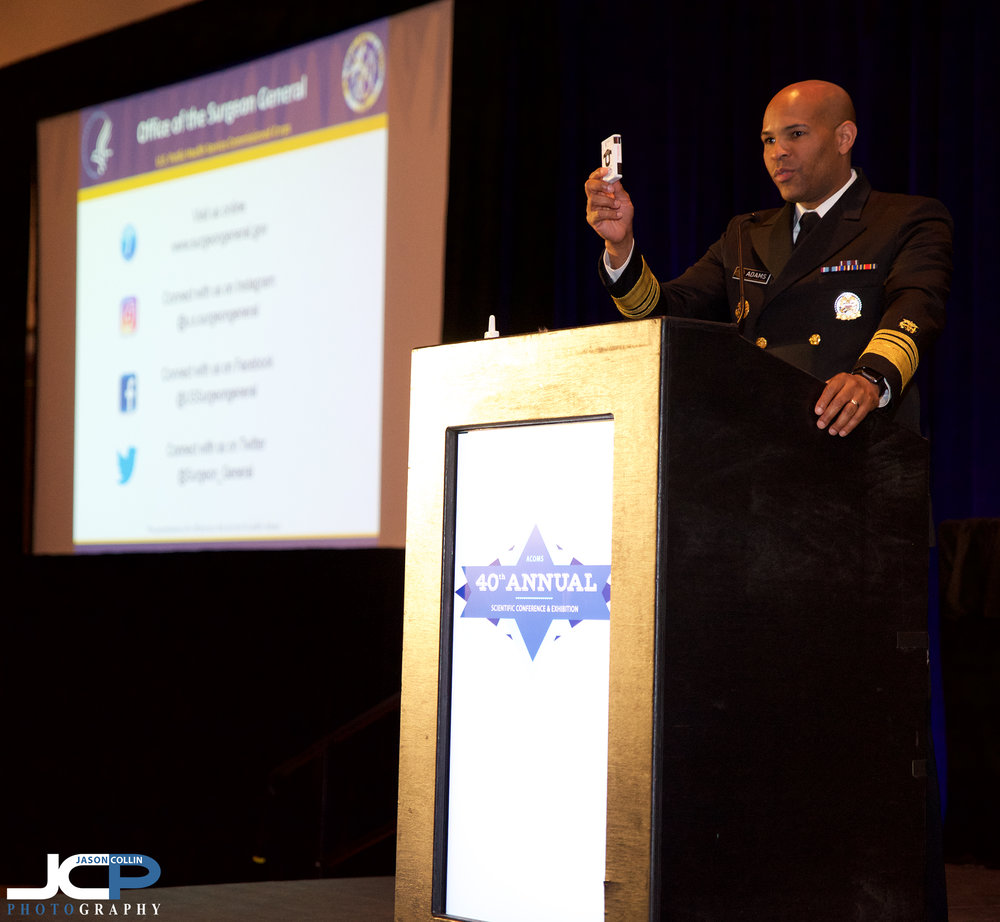 U.S. Surgeon General Dr. Jerome Adams speaks in Santa Fe, New Mexico