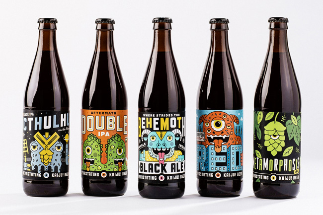 Mikey Burton from Scott Hull Associates  KAIJU! bottle labels