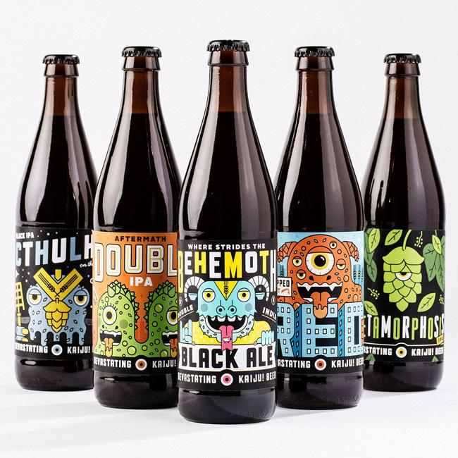 Scott Hull Associates Mikey Burton for Kaiju! bottles