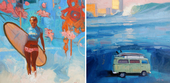 Larry Moore from Scott Hull Associates Surfology of girl on beach and VW van big wave