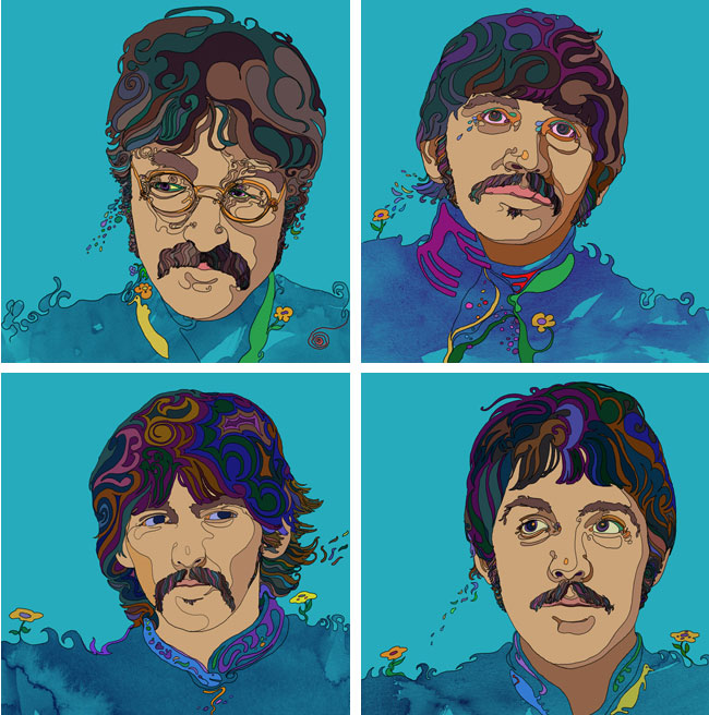 David Reinbold from Scott Hull Associates illustrations of The Beatles