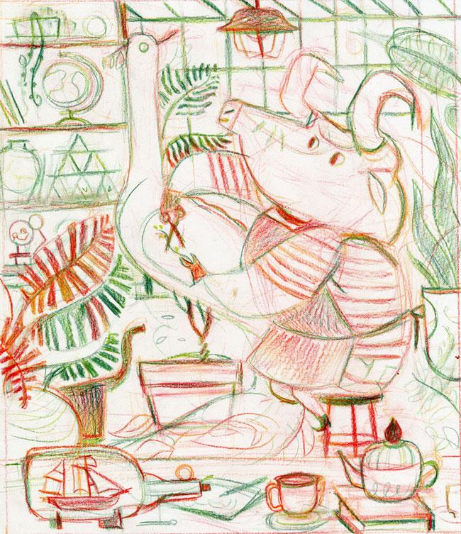 Meg Hunt from Scott Hull Associates postcard project Botanical Bull