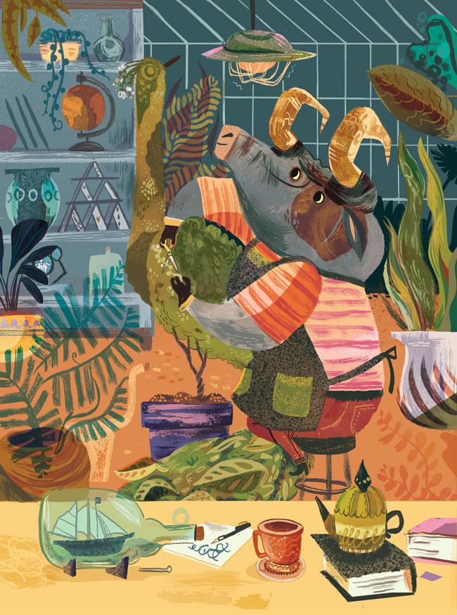 Meg Hunt from Scott Hull Associates for postcard project Botanical Bull