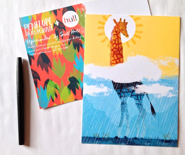 Penelope Dullaghan from Scott Hull Associates giraffe postcard