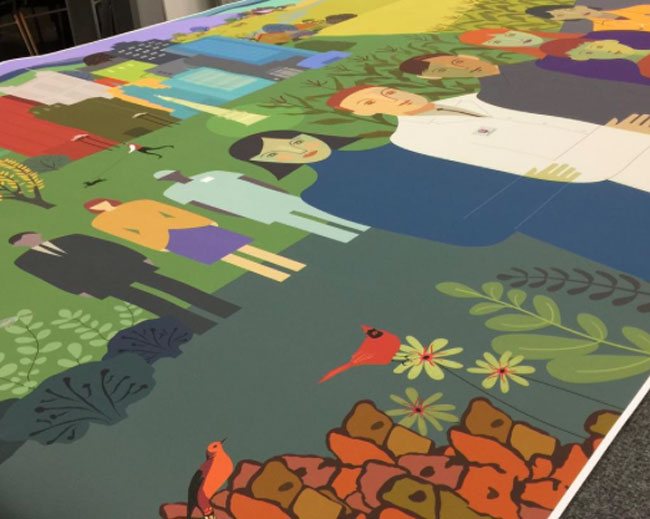 Andrea Eberbach from Scott Hull Associates for IU Simon Cancer Center Mural - Close-Up