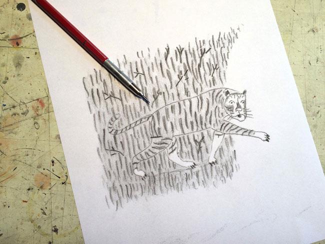 Curtis Parker from Scott Hull Associates tiger sketch for Directory of Illustration