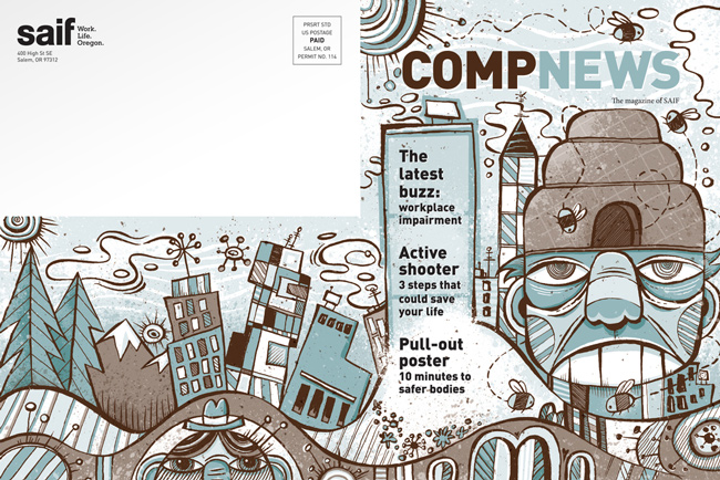 Von Glitschka from Scott Hull Associates for COMPNEWS cover spread