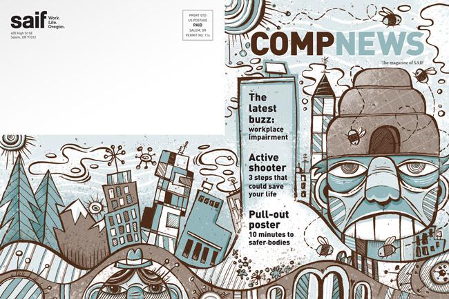 Von Glitschka from Scott Hull Associates for COMPNEWS cover spread
