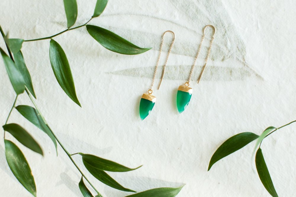 Mint Gem Stone Thread Earrings | Cale & Cole