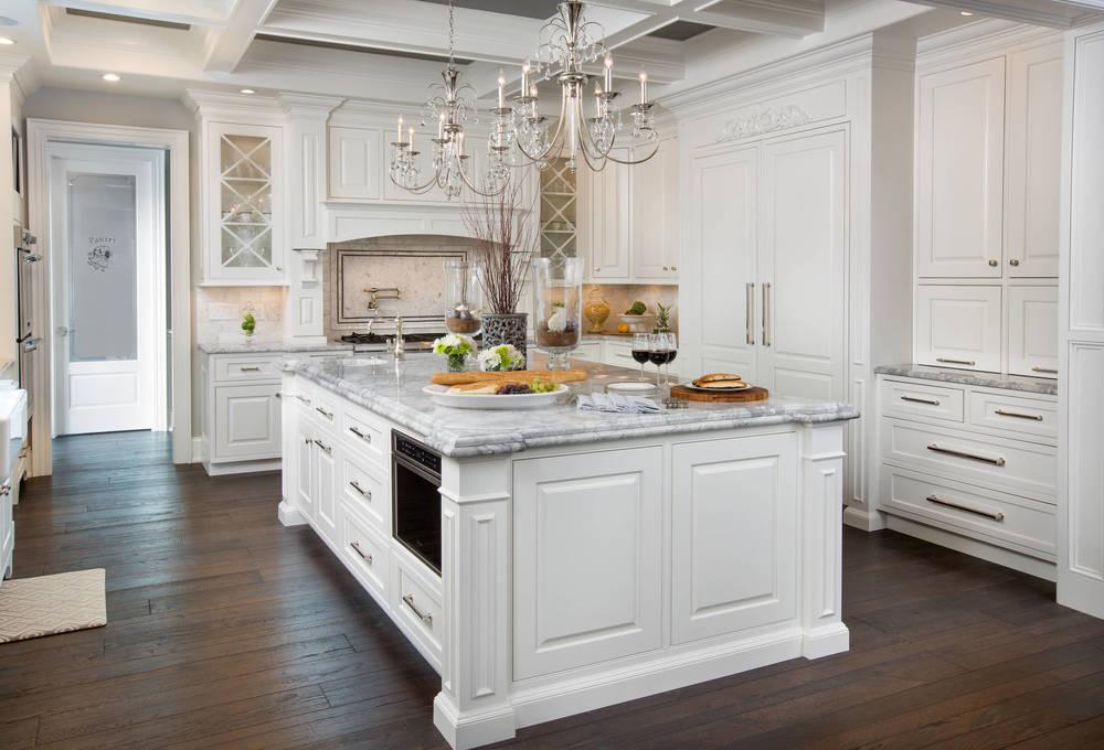 Dream Kitchen Chandeliers Decor White Grey Wood Floor. Countertop ...