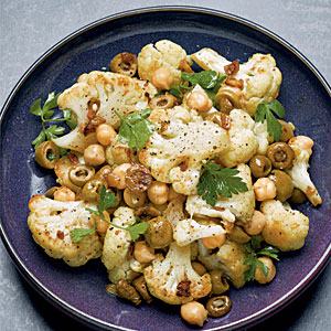 Roasted Cauliflower and Chickpeas with Mustard and Parsley
