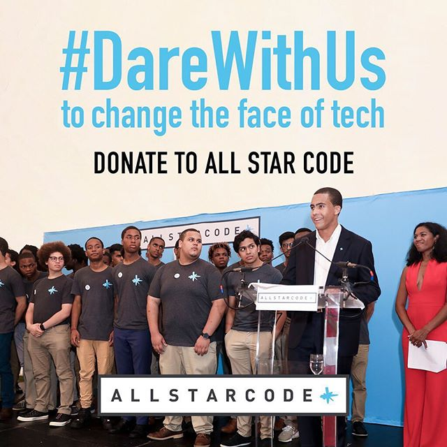 Hey friends! This #GivingTuesday, I'm asking you to help us support young men of color through All Star Code.  Any amount you are willing to give makes a difference in the lives of our students and helps create a country where the ability to thrive is available to all who are willing to dare greatly. Come #DareWithUs, and together we can make a more diverse and brilliant future.  Bonus: All donations made on Nov. 27th will be matched by Facebook/Paypal up to $7,000,000 on a first-come first-serve basis!  #allstarcode #allstarcode5 #summerintensive #nyc #pittsburgh #nonprofit  #diversity tech #coding #blackboyjoy #blackexcellence