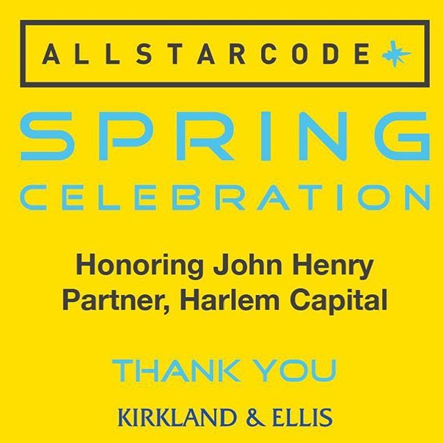 Thank you so much to Kirkland & Ellis for their generous sponsorship of the #allstarcodespring Celebration! Their commitment to our students and to our work helps inspire a new and diverse generation of entrepreneurs. Come see the future in person on March 14th at Chelsea Piers! Tickets available in the bio.