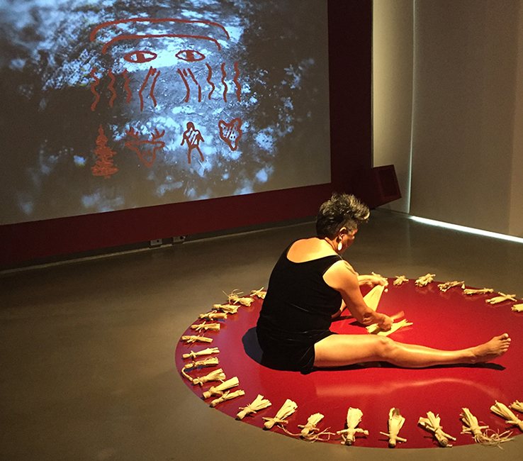 Documentation of Janet Rogers performance, September 16, 2017. Part of For This Land: Inside Elemental at Onsite Gallery. Photo by Lisa Deanne Smith.