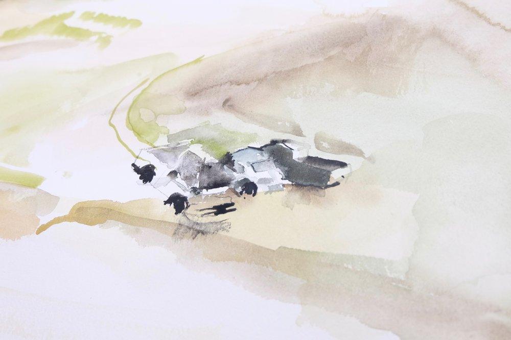 Brenda Draney,  Cutline , 2018, watercolour on paper scrolls