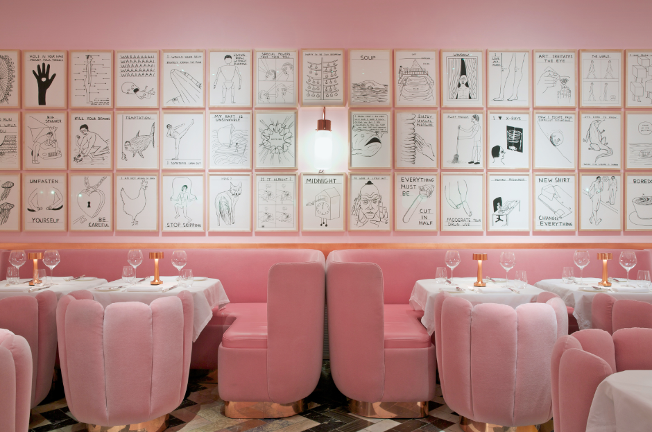 Installation of drawings by David Shrigley at The Gallery Restaurant at Sketch, London. Interior design by India Mahdavi..png