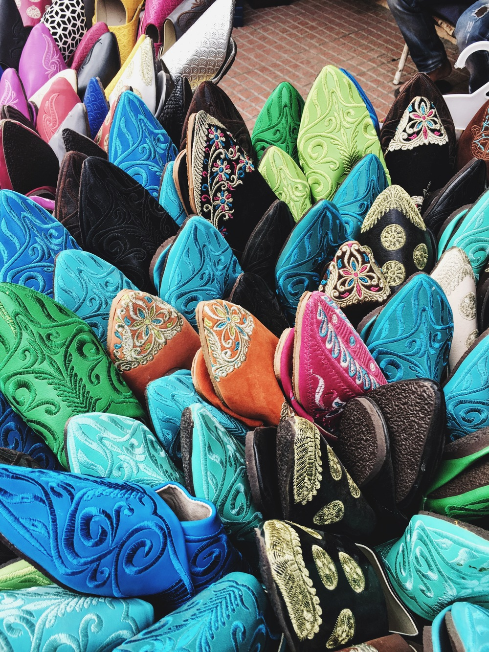 traditional moroccan slippers on the street