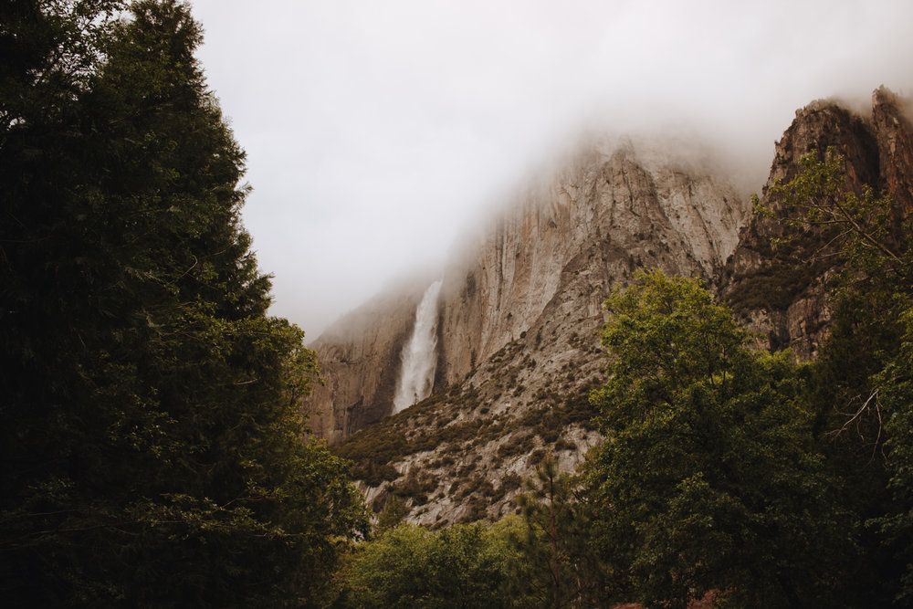 A foggy view of Yosemite Falls
