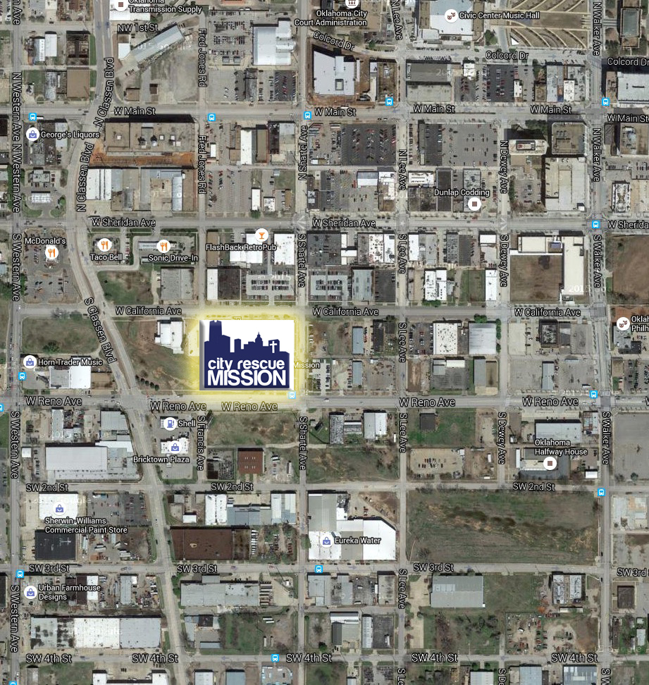 Google Map showing the City Rescue Mission and surrounding area, near downtown Oklahoma City.