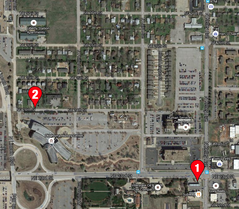 Google Map showing Morris' proximity to her alleged assault location on 5/24/2014. #1 the gas station where she made the report. #2 Alleged (revised) assault location.