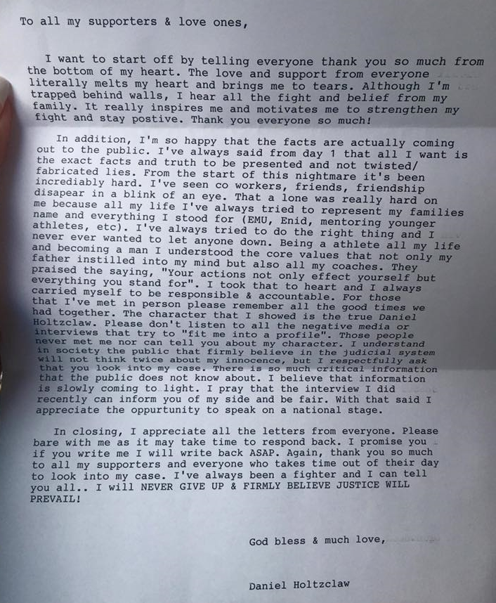 Typewritten letter from Daniel Holtzclaw to all his supporters.