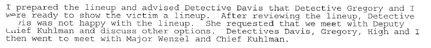 Excerpt from OCPD Lt. Muzny's report within hours of Ligons' allegations.
