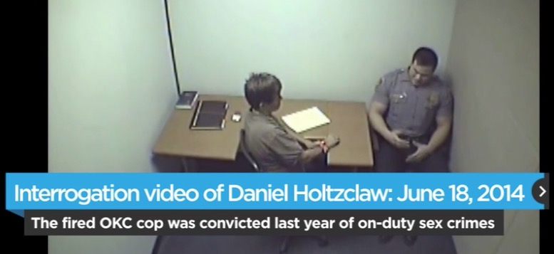 A still image from the highly redacted interrogation video posted by The Oklahoman.