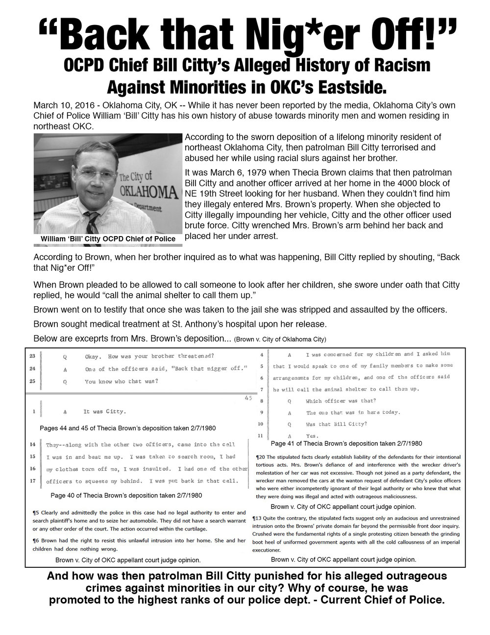 Flier written and distributed by HoltzclawTrial.com creator Brian Bates