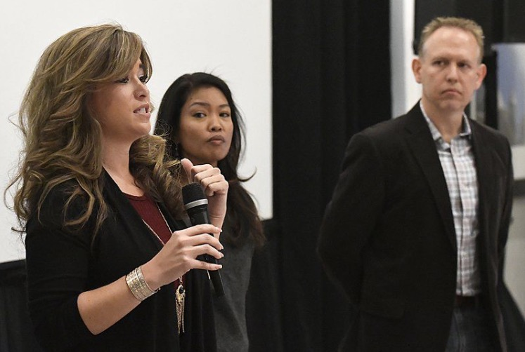 Photo by Billy Hefton with the Enid News & Eagle - (see link to article above) - Jenny Holtzclaw, Michelle Malkin and Brian Bates