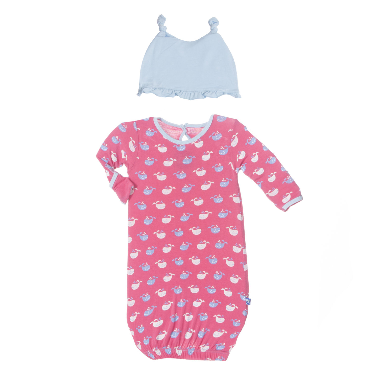 Kickee Pants - Winter Rose Tiny Whale Layette Gown & Ruffle Knot Set ...