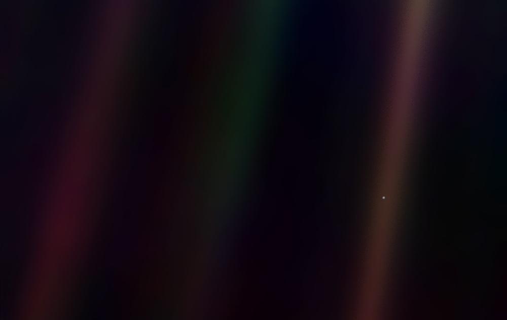 Earth, the Pale Blue Dot, as seen from the Voyager spacecraft.  Credit NASA