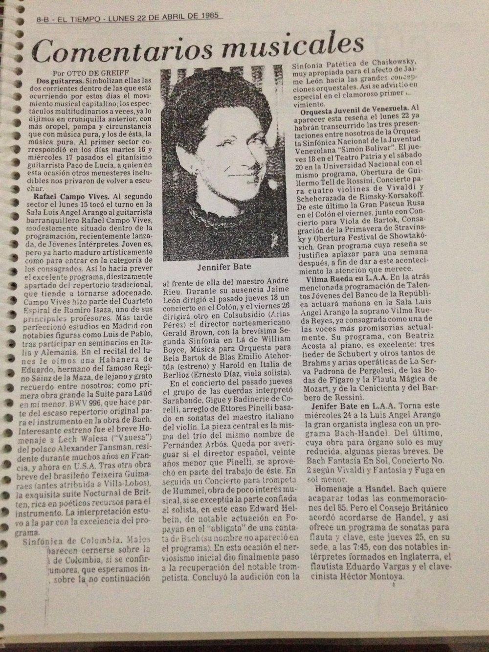 Otto de Greiff.  El Tiempo.  Sala Luis Ángel Arango. Bogotá. 1985
