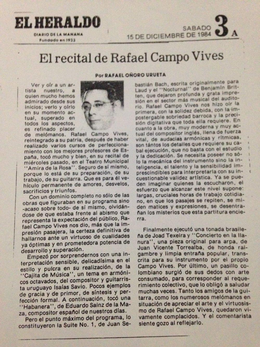 """El Heraldo. Concierto en el Teatro Municipal """"Amira de la Rosa"""". Barranquilla. 1984"""