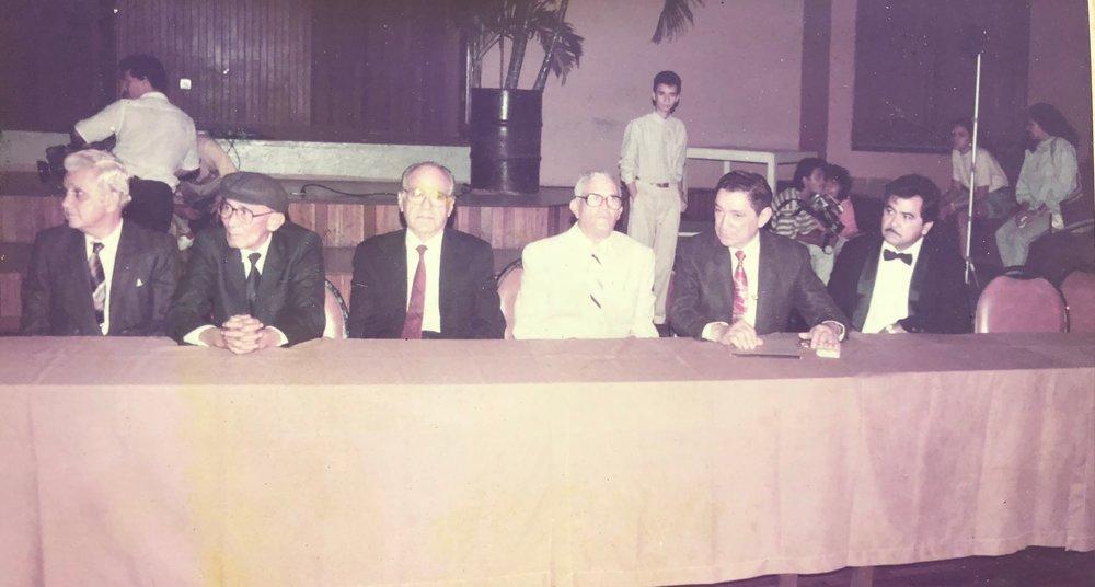 Leyendas de la música del Caribe colombiano.  De izquierda a derecha: Rafael Mejía Romani, José Barros, Rafael Campo Miranda, Emiliano Zuleta Baquero, Rafael Escalona y Adolfo Echeverría. (Archivo RCV).