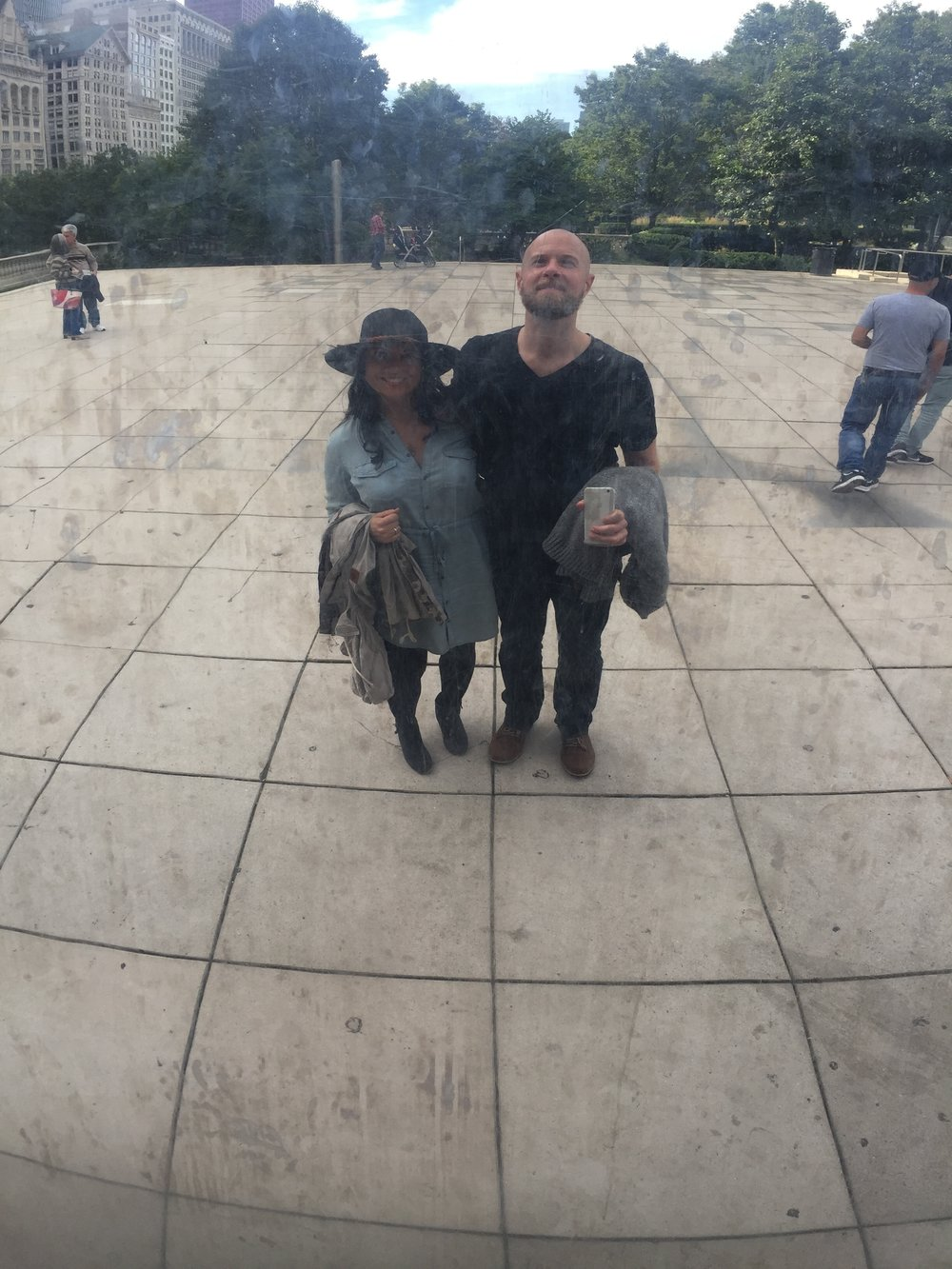 Token selfie at Cloud Gate.
