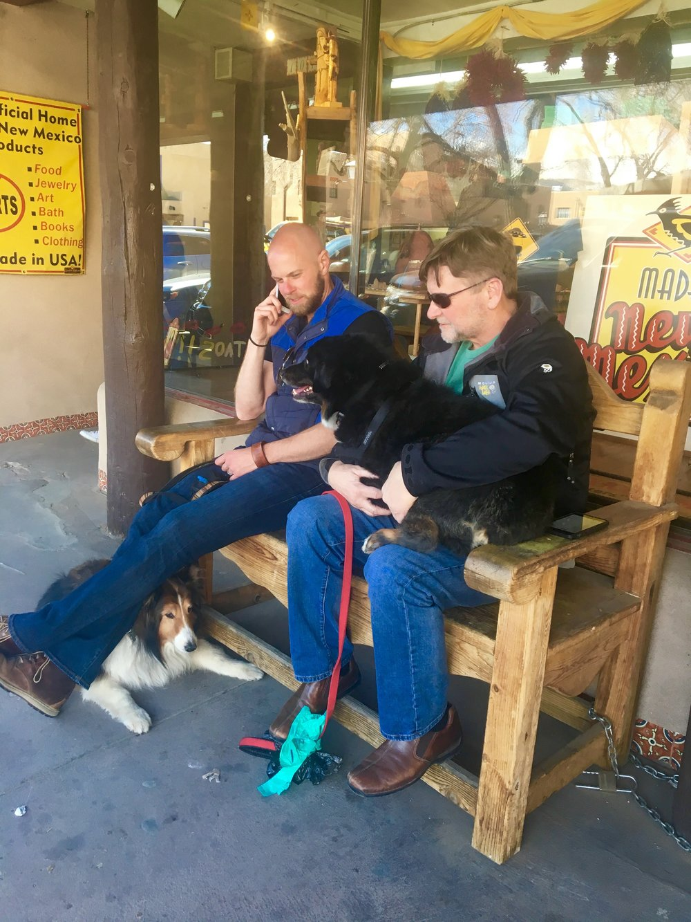 The boys keeping themselves busy while the girls shop in Taos.