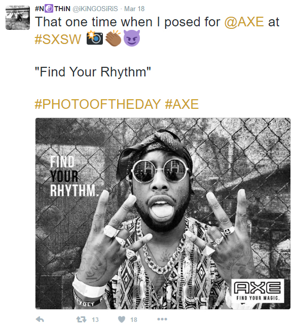 Photo of the day instagram post for AXE SxSW Digital Billboard