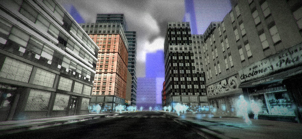 Virtual Reality cityscape with pedestrians made of light particles