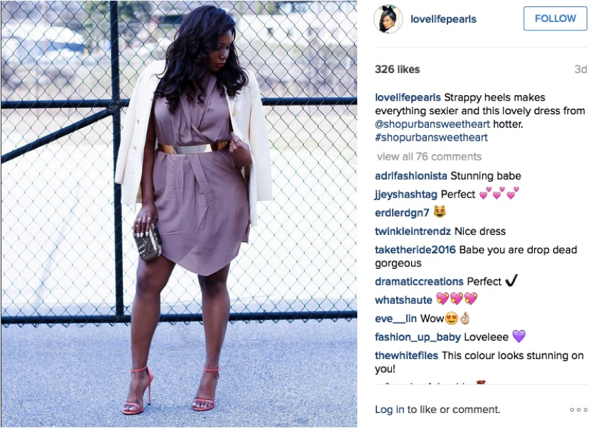 Here is an example from lifestyle blog Love Life Pearls, where she shared a dress from Urban Sweetheart with her followers on Instagram and her blog.