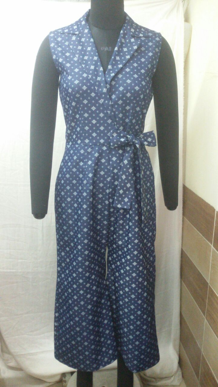 PREPPY JUMPSUIT - This printed denim jumpsuit is functional and different. Look sharp and stylish in our well tailored exclusive piece. It's perfect for the upcoming warmer weather and even for the monsoons as it is calf length. Price Rs 3190