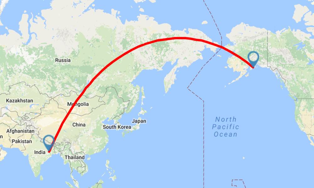 Neeta will fly approximately 10,000 miles to Bear Glacier!